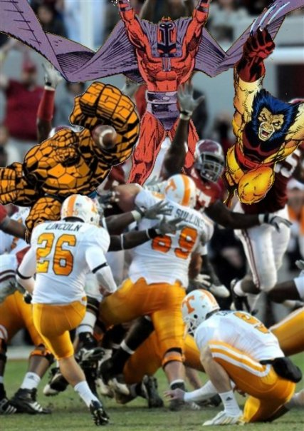 Bama blocking a Tennessee field goal attempt.