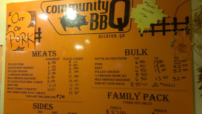 Sign location: Community Q BBQ Purpose: WTF is this BS? Grade: D, as hard as I can type it. Comments: Seriously, you can't be out of pork. There's a pig on the sign. That's just wrong.