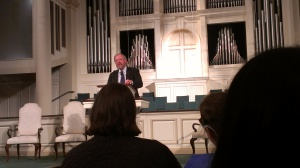 Bill Bryson speaking at First Baptist Church Decatur, Oct. 11, 2013.