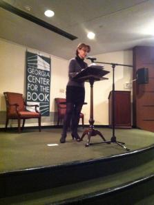 Cecilia Woloch, killing it at the Voices Carry reading in Decatur, Oct. 26