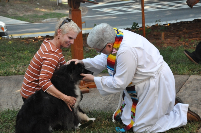 Rev. Tom Hagood, Columbia Presbyterian, blesses a dog during the Blessing of the Animals Ceremony on Oct. 5.