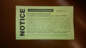 One of the cards left on homes in the City of Decatur.
