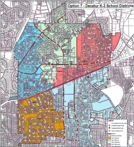 An incredibly reduced photo of Map 7, the top choice of the City Schools of Decatur zoning committee. The attendance zone for Westchester elementary  is the blue section int he upper left hand corner.