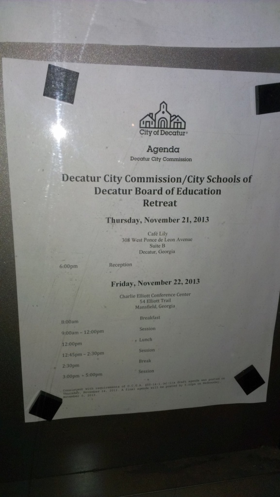 The meeting notice as posted outside of City Hall. The address listed for the Friday meeting is incorrect.