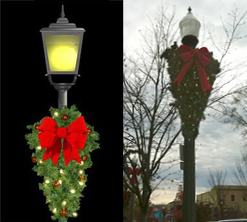 The city's horrible godawful Christmas decorations that nearly ruined the holidays for everyone. Source: City of Decatur with Egg Nogg on face.