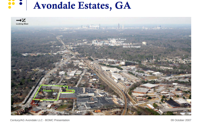Photo from a 2007 Power Point presentation on the Avondale Estates mixed use project. The project fell through and the city has recently purchased the land for it.