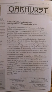 This editor's note appears in the November edition of the Oakhurst Leaflet.