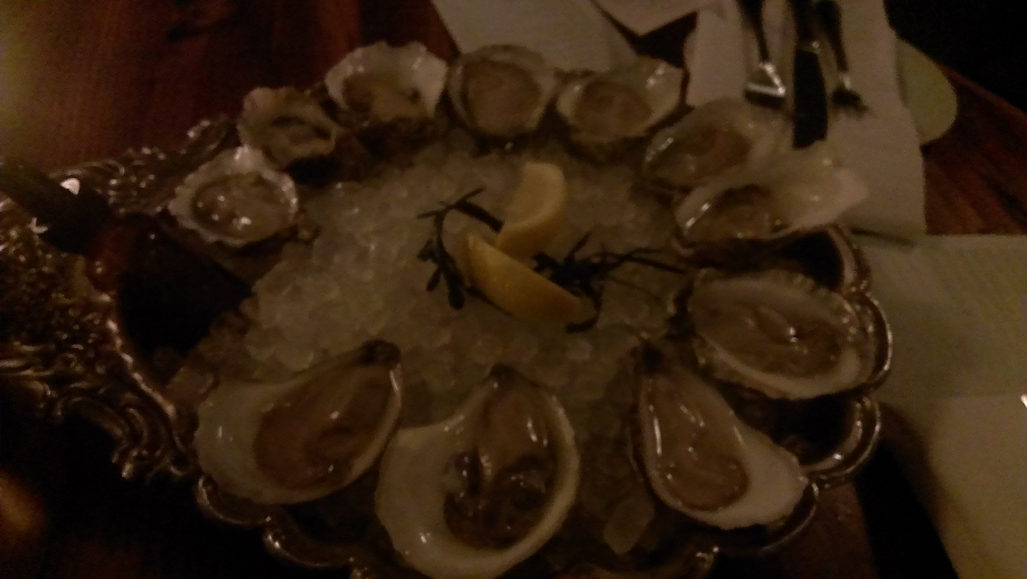 Oysters served to me at the Kimball House in Decatur, Ga.