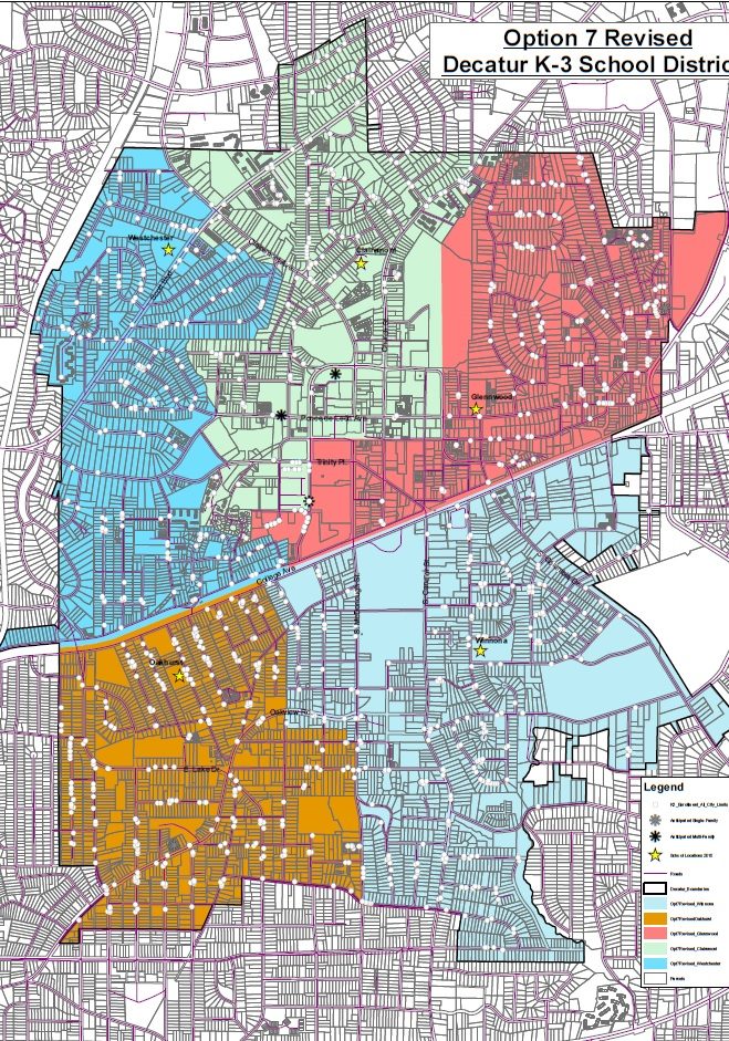 A revised K-3 zoning map up for approval at the Dec. 18 City Schools of Decatur BOE meeting.