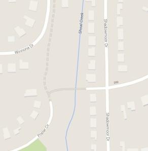 A Google map showing the pedestrian bridge crossing Shoal Creek in Decatur, Ga.