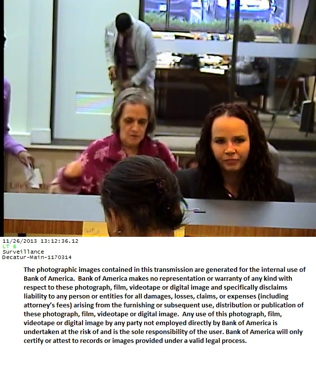 Police in North Carolina are trying to identify the dark-haired woman in this photo who allegedly used fraudulently obtained information to make a transaction at the Bank of America in Decatur, Ga.