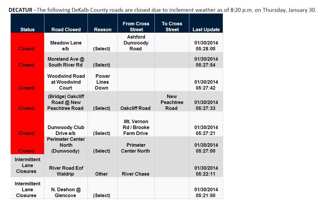 DeKalb County Closures Jan 30