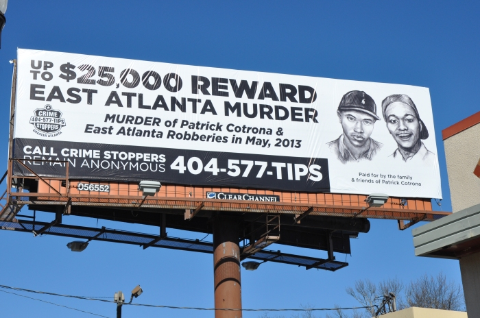 A billboard on Candler Road in Decatur that seeks more information about the murder of Patrick Cotrona. Photo by Dan Whisenhunt