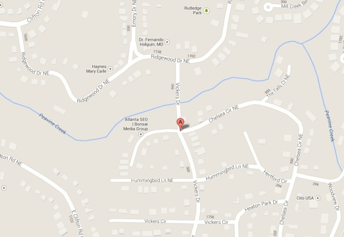Approximate location of fuel smell emanating from Peavine Creek.
