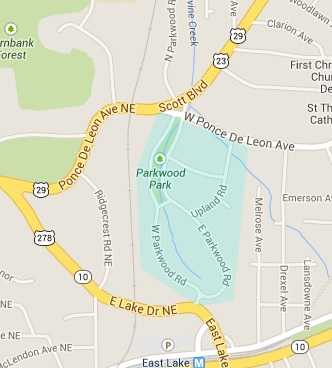 A map showing the boundary lines of the Parkwood Neighborhood. Source: http://parkwoodgardenclub.com/